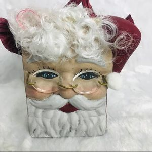 Other - Vintage Santa Claus Face Ceramic Bag Hand Painted